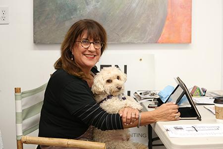 Karen Lehrer with Stan in Studio